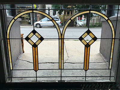 "tfbAntique 2 Arch 1920's Chicago Bungalow Stained Leaded Glass Window 42"" by 29"""