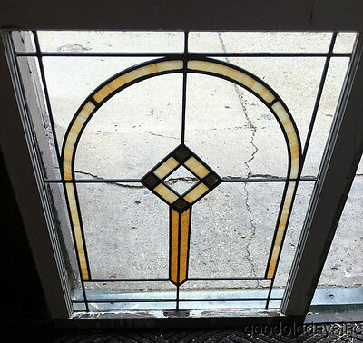 "Antique 1920's Chicago Bungalow Stained Leaded Glass Window 29"" by 25"" Arch"