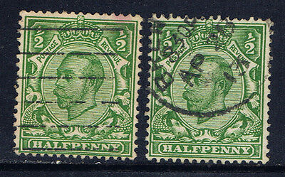 Great Britain #159(5) 1912-13 1/2 pence green George V PAIR Used CV$2.20