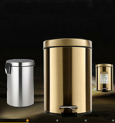 Silver / Champage Gold Metal Stainless Steel Rubbish Bin Kitchen Garbage Can