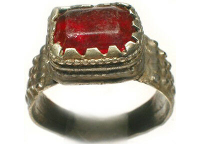 18thC Antique Russian Ukraine Crimean Tatar Silver Ring Ruby Red Glass Gem Sz 9¼