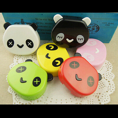 Colorful Cute Panda Eye Contact Lens Case Box Mirror Container Holder Travel Kit