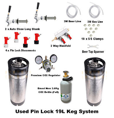 2 x Used 19L Pin Lock Keg System & CO2 Bottle Regulator Party Kit Homebrew S