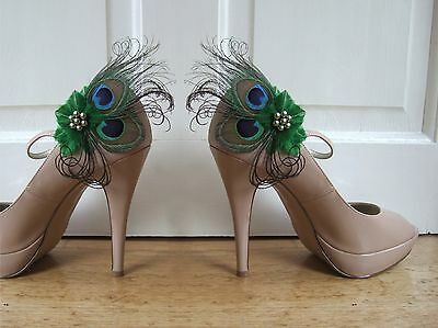 "Bridal Wedding Peacock Feathers Emerald Green Shoe Clips ""Marie"" SC1310 (Pair)"