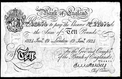 Harvey. Ten Pounds, London, 062L 32875, 19-1-1924, Good Very Fine.