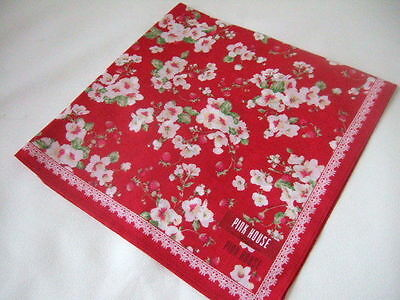 Made in Japan Muslin cotton   Hanky Handkerchief PINK HOUSE strawberry