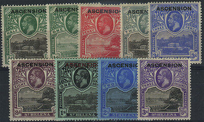 Ascension, SG 1/9, 1922 set of 9 to 3/- fine mint, Cat £325.