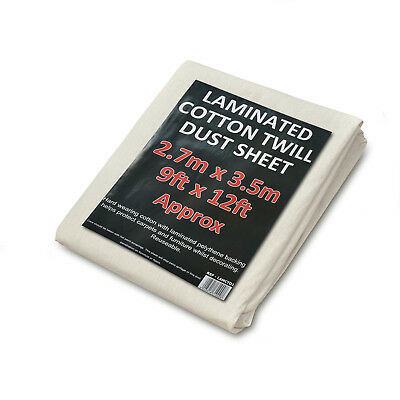 Heavy Duty Cotton Twill 1.8kg Laminated Dust Sheets Large 12ft x 9ft  5 PACK