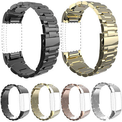 UK Fashion Genuine Stainless Steel Bracelet Watch Band Strap For Fitbit Charge 2