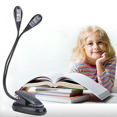2 Dual Flexible Arms 4 LED Clip-on Light Lamp for Piano Music Stand Book Neu
