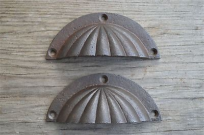 Pair Edwardian cast iron fluted drawer pull furniture handles cabinet AL14