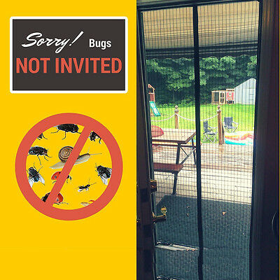 Durable Magnetic Screen Door Insect Mosquito Flying Bug Curtain Full Frame Mesh