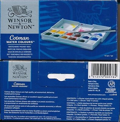 Winsor And Newton Cotman Water Colours Sketchers Pocket Box NEW