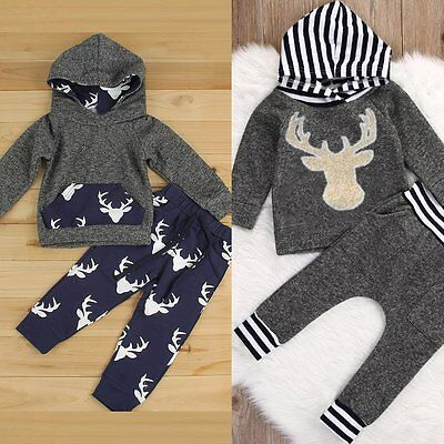 Cute Kids Toddler Baby Boys Long Top Coat Hoody+Pants Outfits Clothes Sets 0-4T