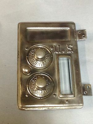 Antique Vintage 1886 Us Nickel Over Brass Beveled Glass Mail Box Door Part