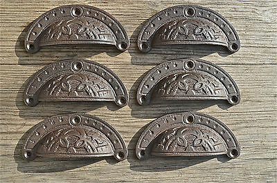 A set of 6 Victorian cast iron cup drawer pull furniture handles AL1