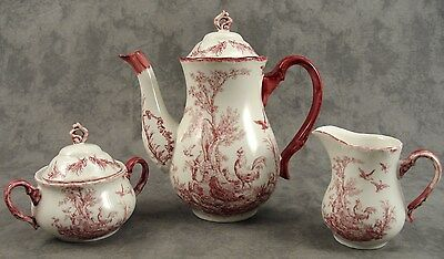 RED & WHITE FRENCH COUNTRY TOILE 3 PIECE TEA SET ~ Aux Au Provence Transferware