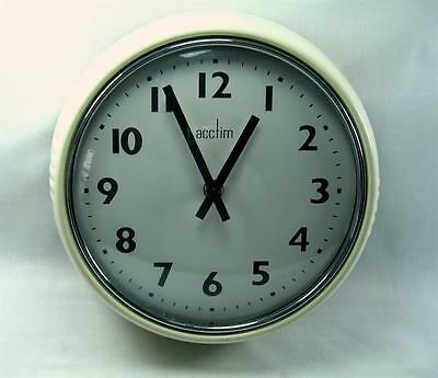 Wall Clock Vintage Art Deco Style By Acctim Quartz Movement Enamelled Metal