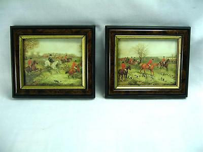 Hunting Scene Two Off Small Glass framed Decorative Vintage English Equestrian