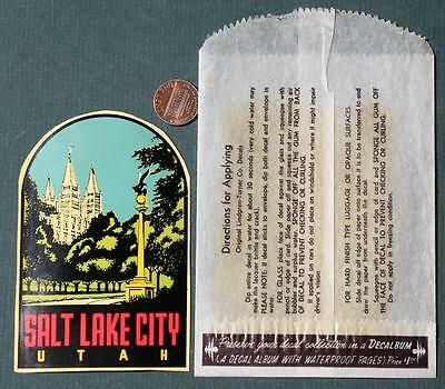 1950s Era Unused Salt Lake City,Utah Mormon Tabernacle Church decal in wrapper!