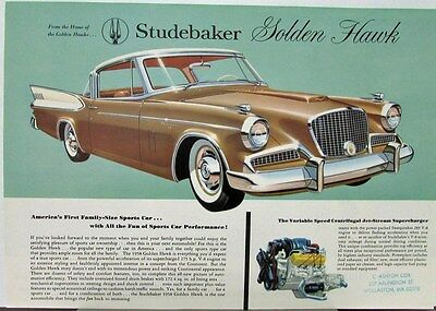 1958 Studebaker Golden Hawk Color Data Sheet Original