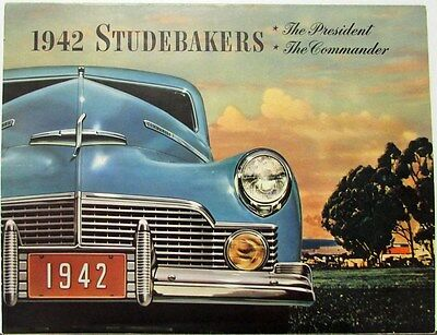 1942 Studebaker President & Commander Color Sales Brochure Folder  Original