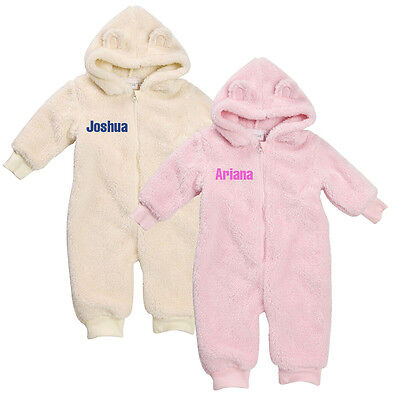 Personalised Embroidered Baby Fleece Fluffy Onesie with Teddy Ears
