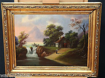 ÖL GEMÄLDE ANTIK ROMANTIKER LANDSCHAFT MÜHLE FLUSS PERSON 72x58 old oil painting