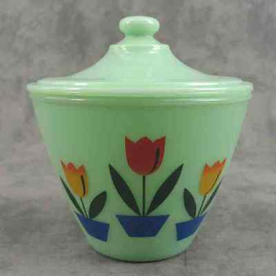 JADEITE GREEN GLASS DUTCH TULIP GREASE DRIPPINGS JAR CONTAINER w/ LID