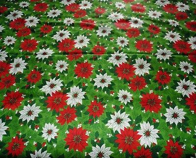 Vintage 82 x 58 Rectangle Green 100 % Cotton Red Poinsettia Christmas Tablecloth