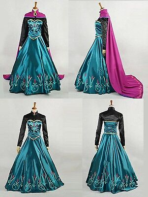 Disney Frozen Elsa Costume Vestito Carnevale Cosplay Donna Nero Regina Princess