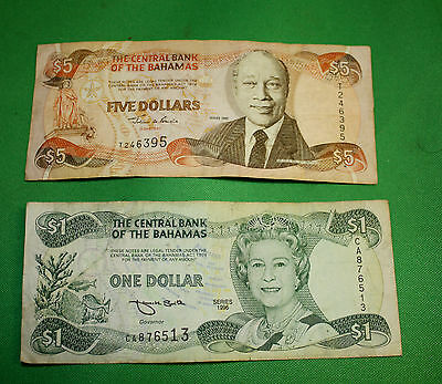Bahamas $5 1997 Bahamas 1996 $1 Bank note Circulated lot of 2 bank notes
