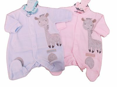 BNWT Tiny Baby Premature Preemie boys or girls Giraffe velour sleepsuit Clothes