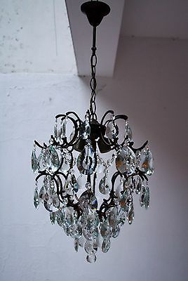 Antique Cage Style Brass & Crystals Bronze Tone Chandelier from 1950's