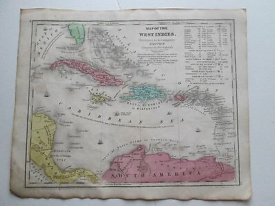 "1839 Smith's Atlas ""map Of West Indies"""