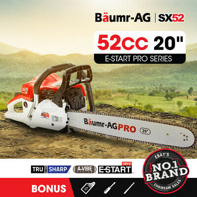 "NEW BAUMR-AG 52cc Petrol Commercial Chainsaw 20"" Bar E-Start Chain Saw"