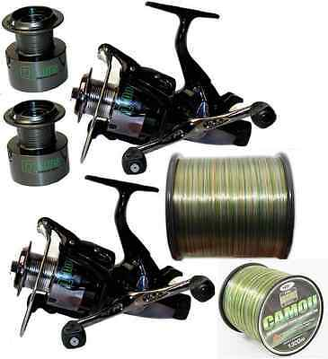 2 x Q-DOS 6000 CARP RUNNER FISHING REELS WITH PARE SPOOLS + 15LB CAMO LINE