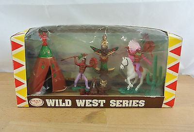 Vintage 1960s Grace Toys Cowboys & Indians Wild West Wagon Series in Box
