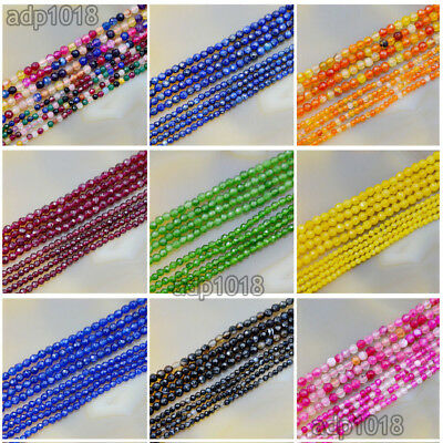 Faceted Natural Gemstones Round Spacer Seed Beads 15.5''  2mm 3mm Jewelry Design