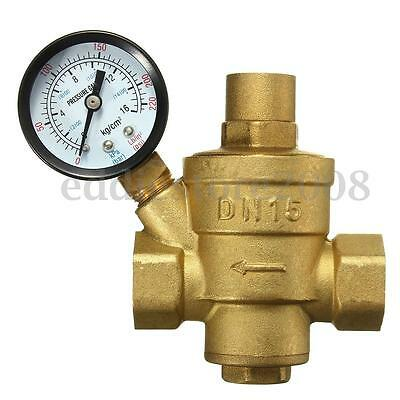 DN15 1/2 '' Bspp Brass Water Pressure Reducing Valve With Gauge Flow Adjustable