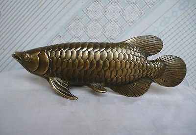antique excellent Folk Culture HandMade Brass Bronze statue Fish Sculpture
