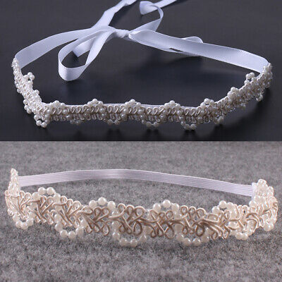 Newborn Baby Girl Pearl  Flower Headband Hair Photography Props Accessories