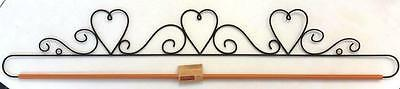 "38"" Or 96Cm Black Metal Dowel Rod Three Hearts Quilt Hanger"