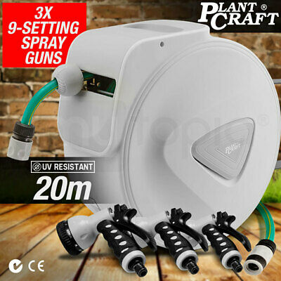 New PLANTCRAFT 20m Retractable Garden Hose Reel Rewind Gun Water Wall Mount