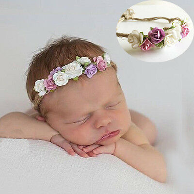 Lovely Newborn Baby Girls Toddler Kids Flower Crown Headband Hairband Photo Prop