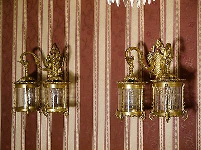 rare lanterns gold bronze french light pair wall lamps sconces brass vintage