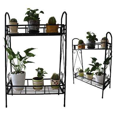 TWO Tier Metal Plant Stand Garden Planter Holder Flower Pot Shelf Rack Display