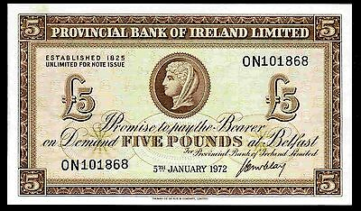 Provincial Bank of Ireland. Five Pounds, ON 101868, 5-1-1972, VF-EF.