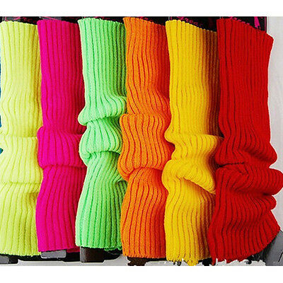 Fashion Womens Solid Neon Leg Warmers Stocking Plain Knitted Socks Legging