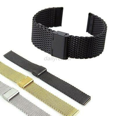 Unisex Stainless Steel Bracelet Strap Watch Mesh Replacement Band 18 20 22 24 mm